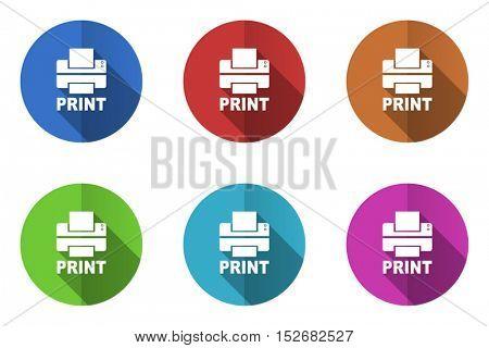Printer flat vector icons