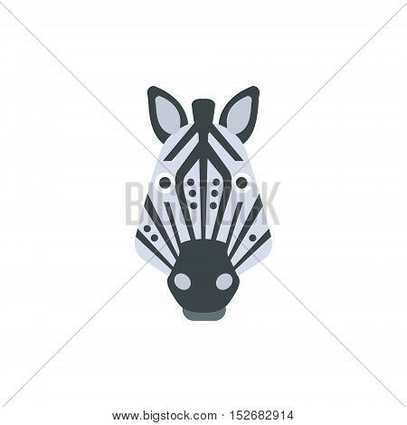 Zebra African Animals Stylized Geometric Head. Flat Colorful Vector Creative Design Icon Isolated On White Background