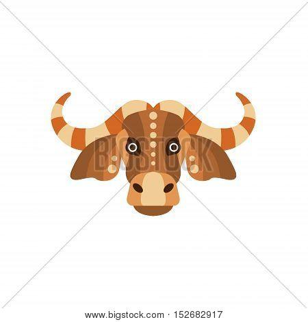 Zebu Bull African Animals Stylized Geometric Head. Flat Colorful Vector Creative Design Icon Isolated On White Background