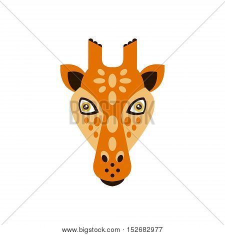 Giraffe African Animals Stylized Geometric Head. Flat Colorful Vector Creative Design Icon Isolated On White Background