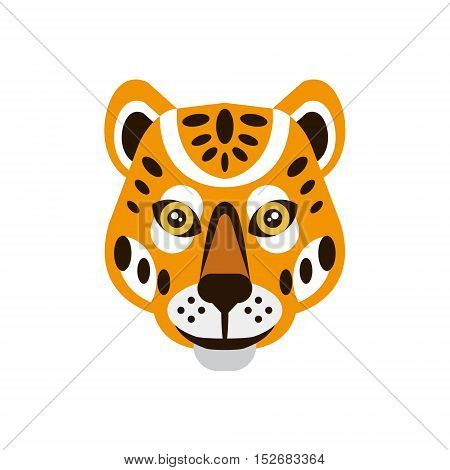 Cheetah African Animals Stylized Geometric Head. Flat Colorful Vector Creative Design Icon Isolated On White Background