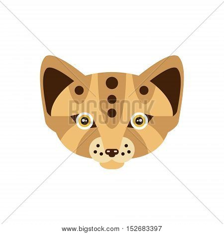 Fennec Fox African Animals Stylized Geometric Head. Flat Colorful Vector Creative Design Icon Isolated On White Background