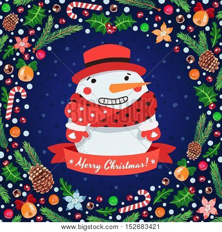 Merry Christmas vector cartoon blue greeting card with snowman and holiday symbols.