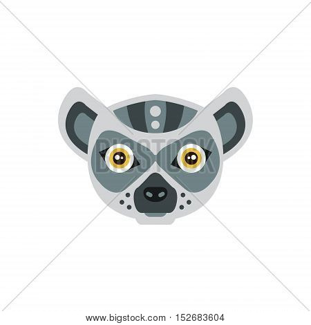 Lemur African Animals Stylized Geometric Head. Flat Colorful Vector Creative Design Icon Isolated On White Background