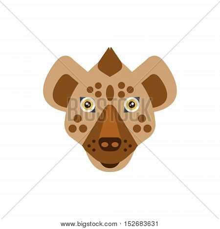 Hyena African Animals Stylized Geometric Head. Flat Colorful Vector Creative Design Icon Isolated On White Background