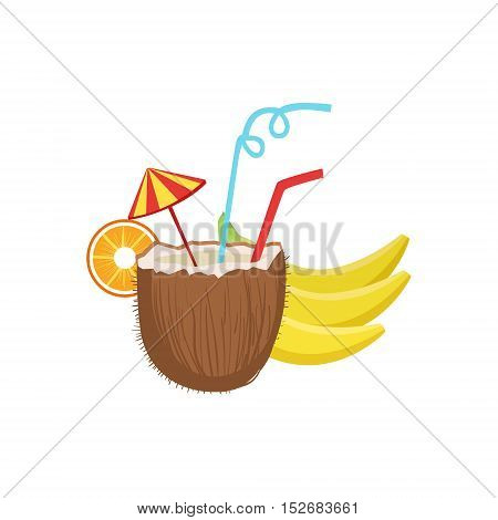 Cocktail In Coconut Hawaiian Vacation Classic Symbol. Isolated Flat Vector Icon With Traditional Hawaiian Representation On White Bacground.
