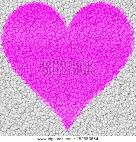 Abstract bubble surface with bright pink big hearth