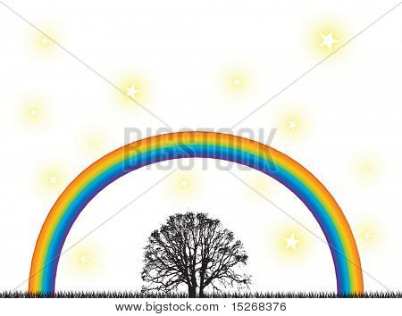 A abstract spiritual image with a rainbow over a silhouette tree