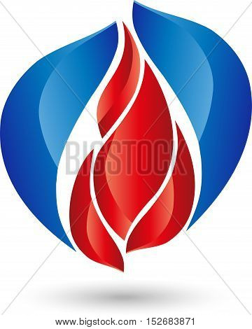 Fire, flame and water, water drop, logo