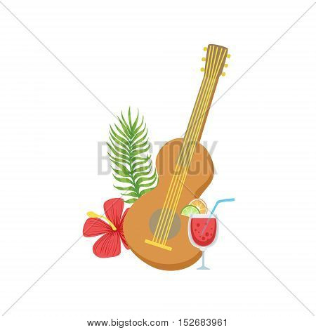 Guitar Hawaiian Vacation Classic Symbol. Isolated Flat Vector Icon With Traditional Hawaiian Representation On White Bacground.