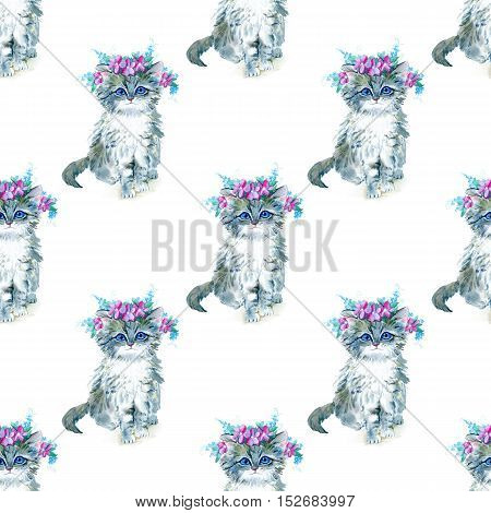 Seamless pattern with grey kitty and flower wreath.Watercolor hand drawn illustration.Cat on a white background.