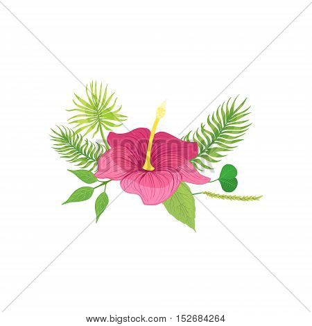 Tropical Flower And Leafs Hawaiian Vacation Classic Symbol. Isolated Flat Vector Icon With Traditional Hawaiian Representation On White Bacground.