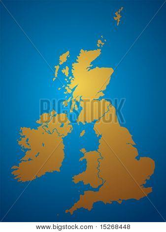 Eine Abbildung einer Karte des united Kingdon und Irlands