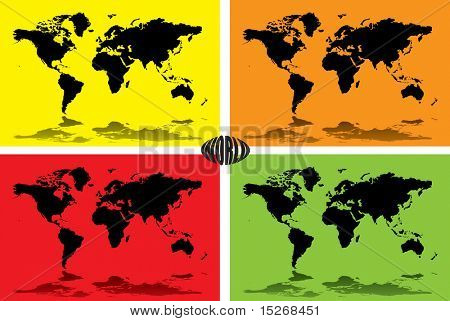 A illustrated background of the world set on four different colours
