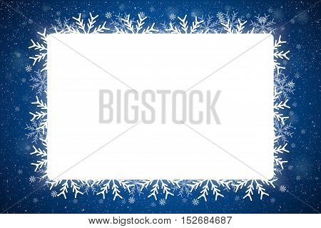 Vector Rectangle White Frame Snowflake. Falling Snow. Blue Winter Frame Background. Winter Snowfall. Holidays New Year and Merry Christmas.