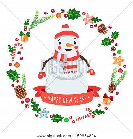 Happy New Year cartoon snowman in a cap and scarf with Christmas wreath vector greeting card.