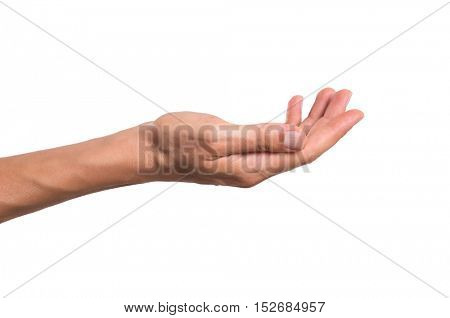 Stretched hand of man isolated over white background. Open palm hand gesture of man hand. Close up of open palm isolated over white background.