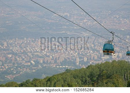 The funicular climbs to the Macedonian mountain Vodno