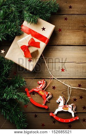Christmas Decorations With Toy Horses And Gift Boxex