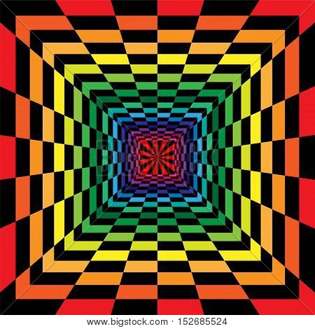 Vector Illustration. Black and Colorful Rectangles Expanding from the Center. Optical Illusion of Perspective. Suitable for Web Design.
