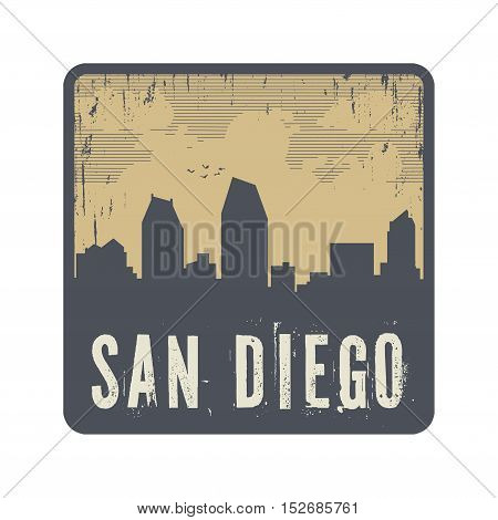 Grunge vintage stamp with text San Diego vector illustration