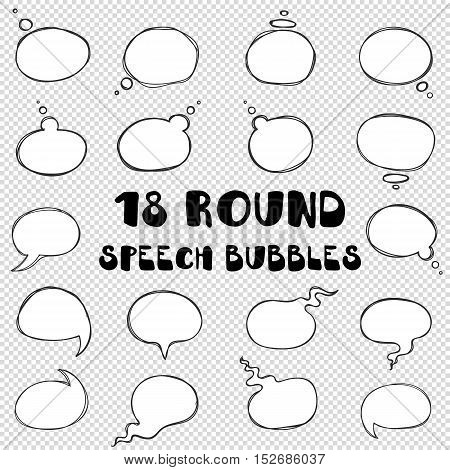 Vector hand drawn round bubbles to talk on transparent background. Sketch balloons for text thoughts or ideas. Frames of the doodle lines for speech, dialogues, conversations or communications