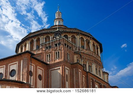 Detail of the church of Santa Maria delle Grazie (Holy Mary of Grace 1463-1497) in Milano (Milan) Lombardy Italy