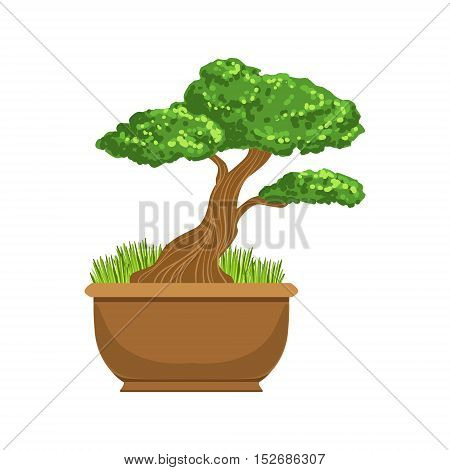 Bonsai Japanese Culture Symbol. Isolated Object Representing Japan On White Background