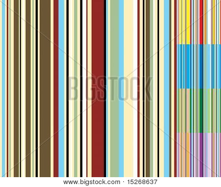 Abstract seventies wallpaper design with five color variations all with vertical stripes that tile seamlessly