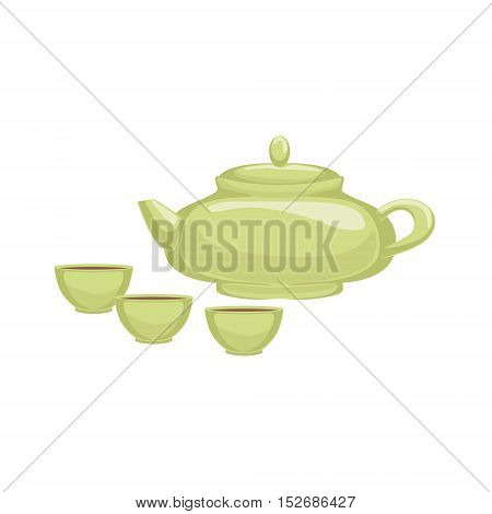 Tea Ceremony Japanese Culture Symbol. Isolated Object Representing Japan On White Background