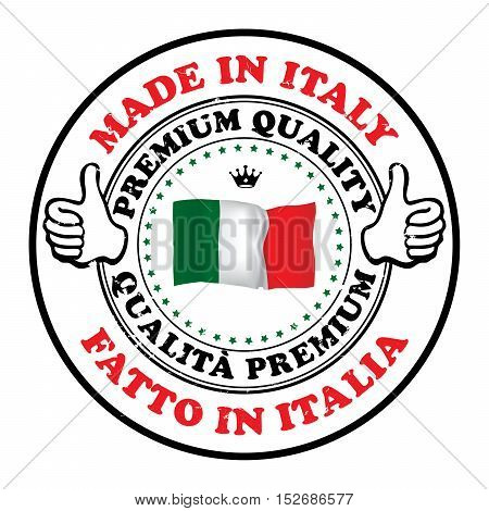 Made in Italy, Premium Quality (text written Italian language - Fatto in Italia) business grunge stamp with the Italian flag colors. Suitable for retail industry. Print colors (CMYK) used.