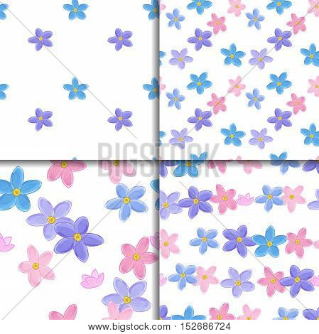 Floral seamless pattern set with forget-me-not. Four backgrounds with flowers.