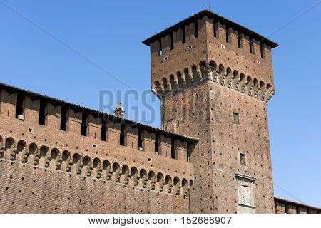 Sforza Castle XV century (Castello Sforzesco) in Milan Lombardy Italy with Tower of Bona (Torre di Bona di Savoia 1476)