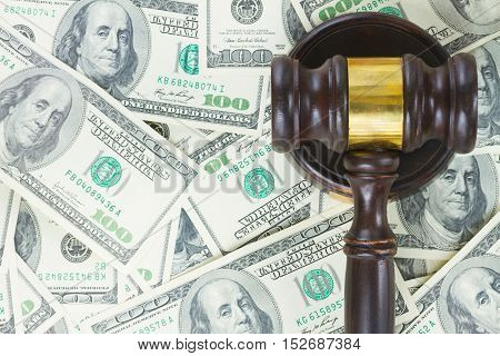 Wooden Law Gavel on Euro Money background