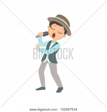 Boy In Hat Singing In Karaoke. Bright Color Cartoon Simple Style Flat Vector Sticker Isolated On White Background