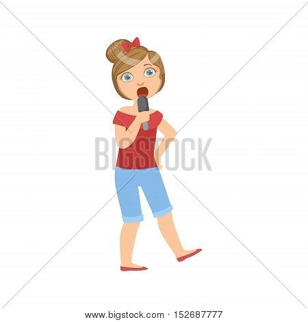 Girl In Breeches Singing In Karaoke. Bright Color Cartoon Simple Style Flat Vector Sticker Isolated On White Background