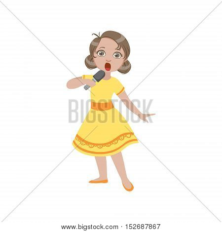 Girl In Yellow Dress Singing In Karaoke. Bright Color Cartoon Simple Style Flat Vector Sticker Isolated On White Background