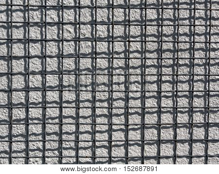 Metal Grid And Cement Wall Texture.