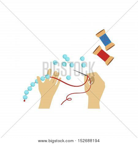 Child Doing Bead Necklace Illustration With Only Hands Visible From Above. Kids Art And Craft Lesson Colorful Cartoon Cute Vector Picture.