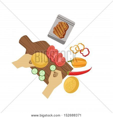Child Cooking Burger Illustration With Only Hands Visible From Above. Kids Art And Craft Lesson Colorful Cartoon Cute Vector Picture.