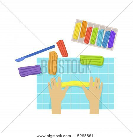 Child Sculpting Illustration With Only Hands Visible From Above. Kids Art And Craft Lesson Colorful Cartoon Cute Vector Picture.