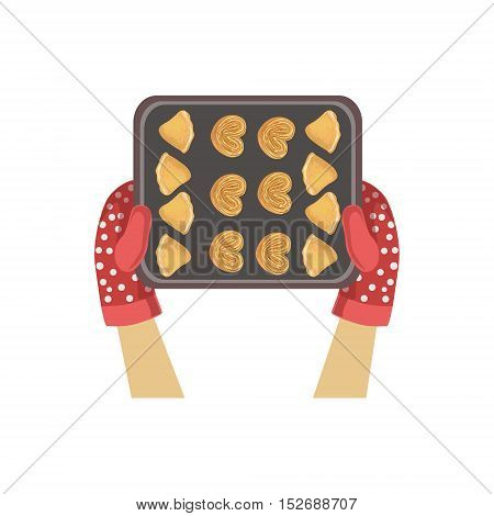 Child With Cookie Tray Illustration With Only Hands Visible From Above. Kids Art And Craft Lesson Colorful Cartoon Cute Vector Picture.