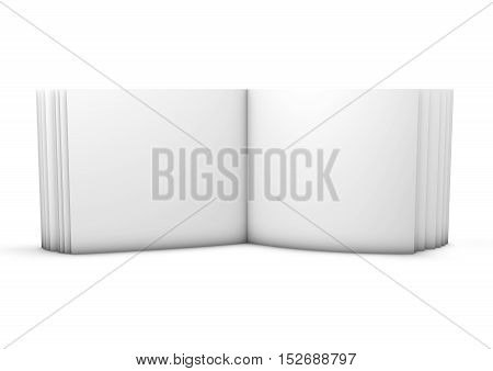 Open photo book, album with blank pages horizontal orientation 3D rendering.