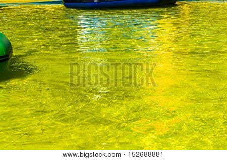 Texture, Background. The Water In The Pool, Pool Yellow Colored Yellow Water