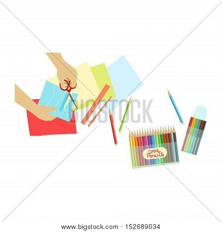 Child Doing Applique Illustration With Only Hands Visible From Above. Kids Art And Craft Lesson Colorful Cartoon Cute Vector Picture.