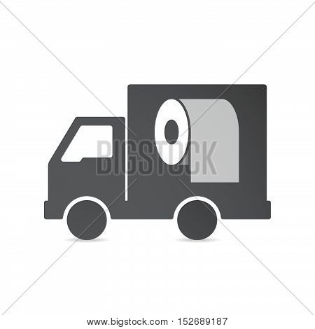 Isolated Delivery Truck With A Toilet Paper Roll