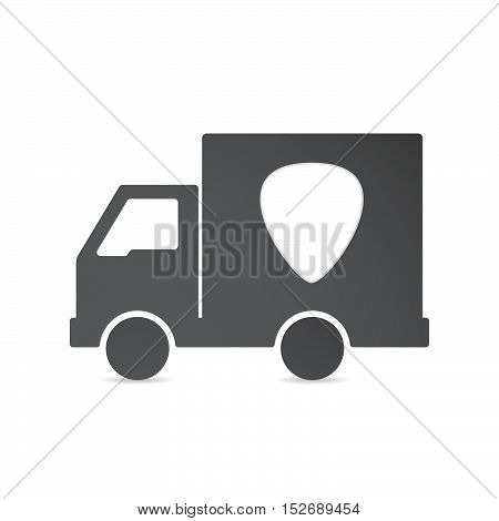 Isolated Delivery Truck With A Plectrum