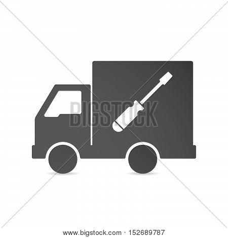 Isolated Delivery Truck With A Screwdriver