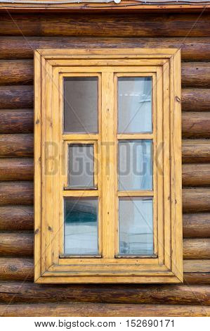 Texture, Background. Wooden Windows, Wooden House, House Made Of Logs, Log