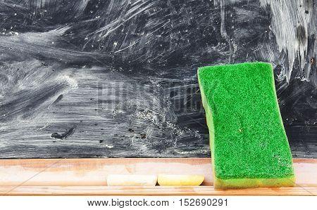 A Erasing the blackboard. A Close up